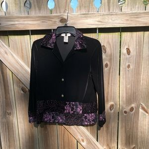 Notations Black Long Sleeved Blouse  Size PS
